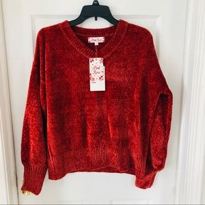 NWT PINK ROSE burnt orange chenille sweater size M